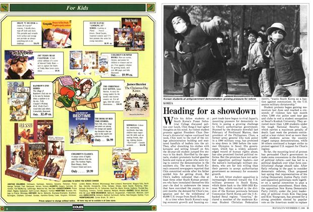 Article Preview: Heading for a showdown, November 1986 | Maclean's