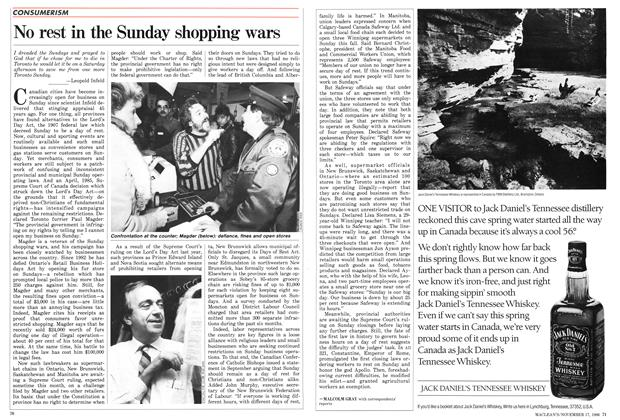 Article Preview: No rest in the Sunday shopping wars, November 1986 | Maclean's