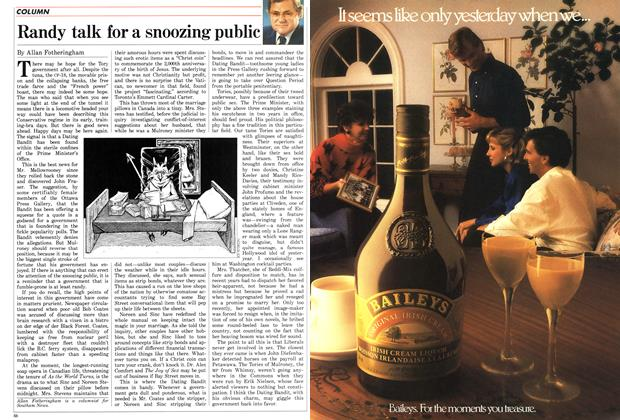 Article Preview: Randy talk for a snoozing public, November 1986 | Maclean's