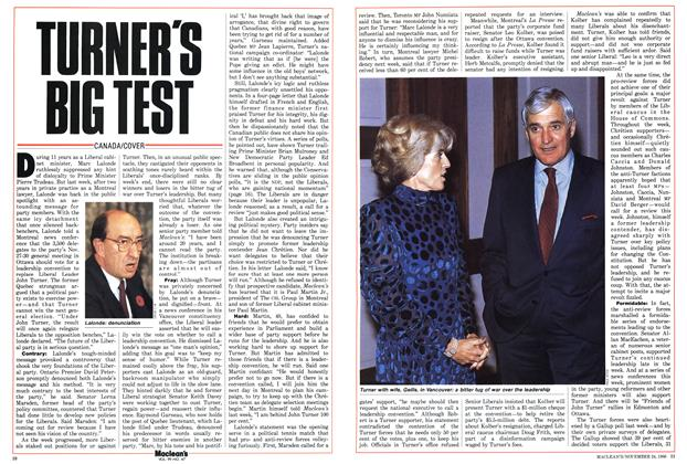 Article Preview: TURNER'S BIG TEST, November 1986 | Maclean's