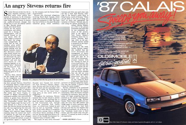 Article Preview: An angry Stevens returns fire, November 1986 | Maclean's