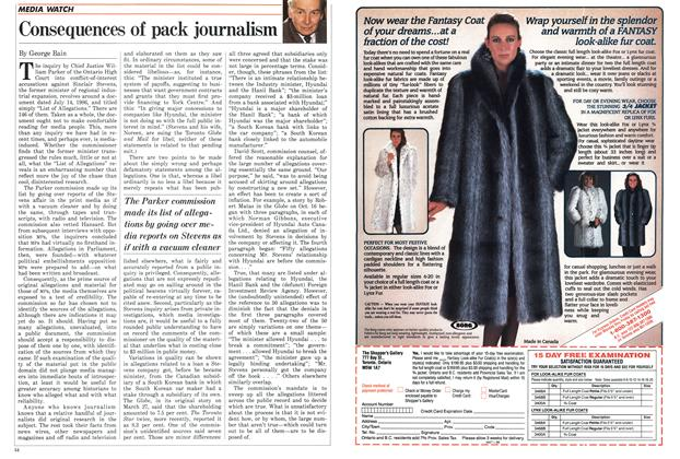 Article Preview: Consequences of pack journalism, November 1986 | Maclean's