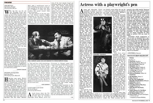 Article Preview: Actress with a playwright's pen, November 1986 | Maclean's
