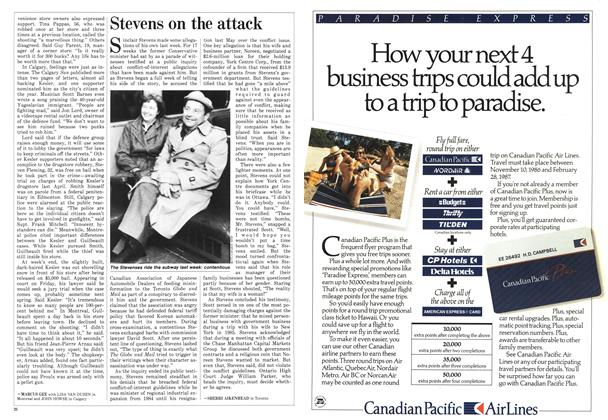 Article Preview: Stevens on the attack, December 1986 | Maclean's