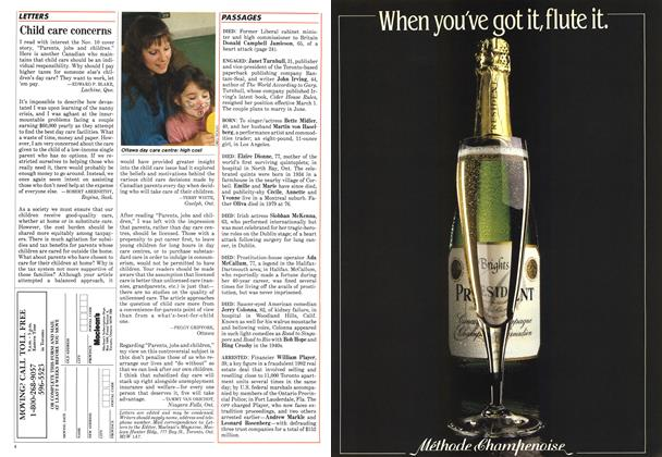 Article Preview: Child care concerns, December 1986 | Maclean's