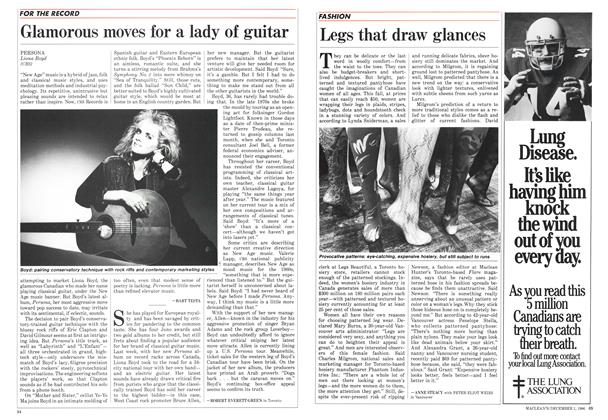 Article Preview: Legs that draw glances, December 1986 | Maclean's