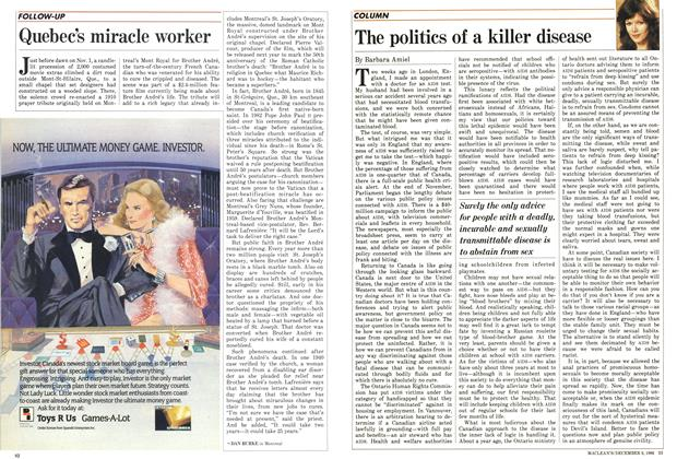 Article Preview: The politics of a killer disease, December 1986 | Maclean's