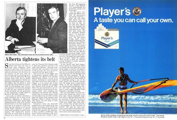 Article Preview: Alberta tightens its belt, December 1986 | Maclean's