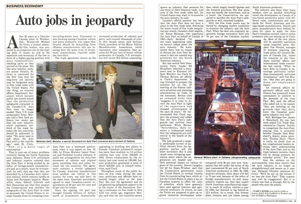Article Preview: Auto jobs in jeopardy, December 1986 | Maclean's