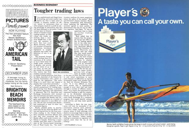 Article Preview: Tougher trading laws, December 1986 | Maclean's