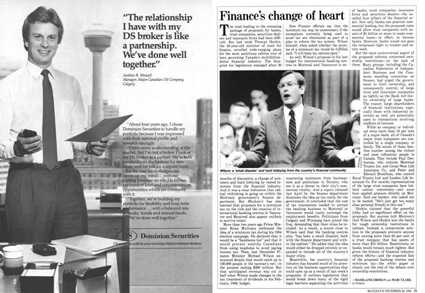 Article Preview: Finance's change of heart, December 1986 | Maclean's