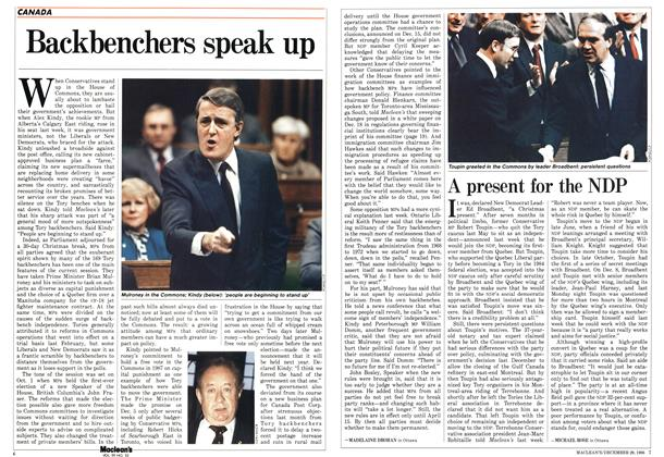 Article Preview: Backbenchers speak up, December 1986 | Maclean's