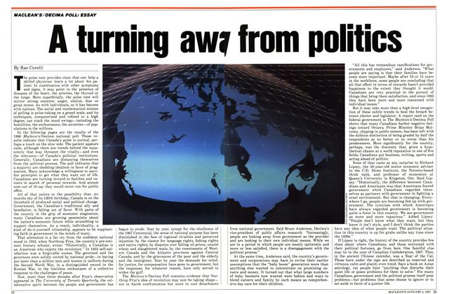 Article Preview: A turning away from politics, January 1987 | Maclean's