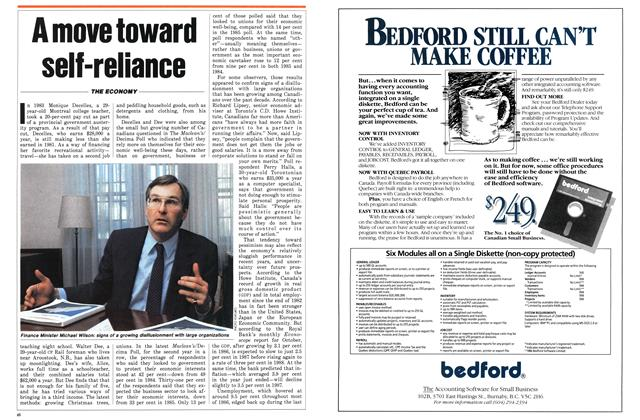 Article Preview: A move toward self-reliance, January 1987 | Maclean's