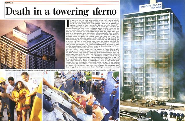 Article Preview: Death in a towering inferon, January 1987 | Maclean's