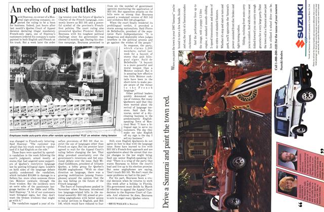 Article Preview: An echo of past battles, January 1987 | Maclean's