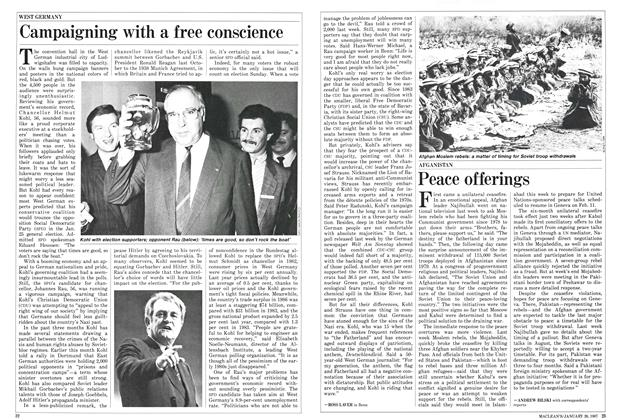 Article Preview: Campaigning with a free conscience, January 1987 | Maclean's