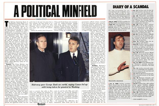 Article Preview: A POLITICAL MINFIELD, February 1987 | Maclean's
