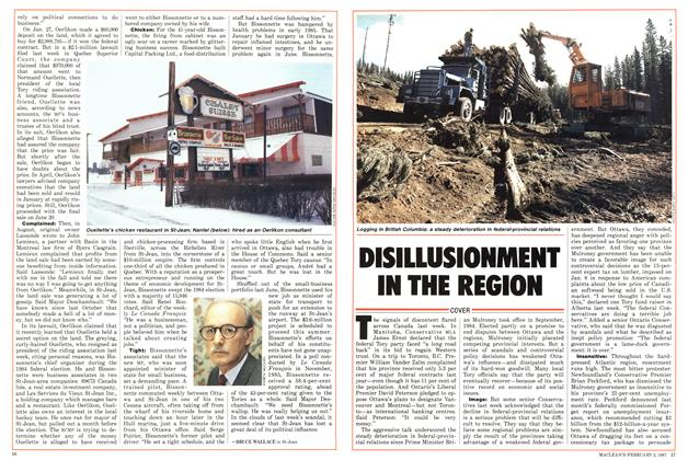 Article Preview: DISILLUSIONMENT IN THE REGION, February 1987 | Maclean's