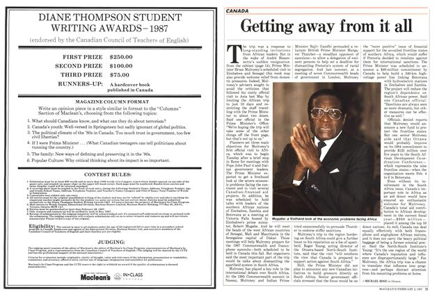 Article Preview: Getting away from it all, February 1987 | Maclean's