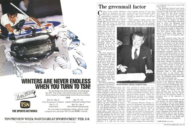 Article Preview: The greenmail factor, February 1987   Maclean's