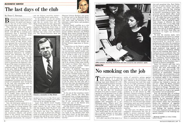 Article Preview: No smoking on the job, February 1987 | Maclean's