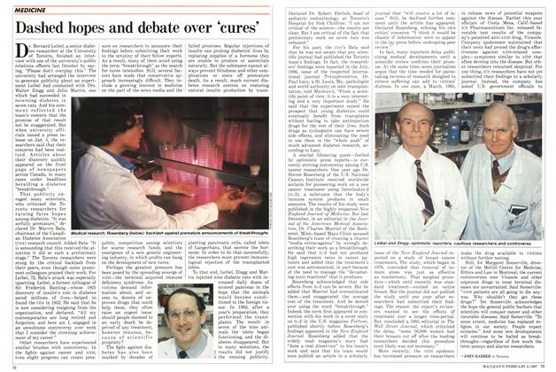 Article Preview: Dashed hopes and debate over 'cures', February 1987 | Maclean's