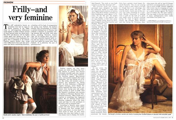 Article Preview: Frilly-and very feminine, FEBRUARY 9,1987 1987 | Maclean's