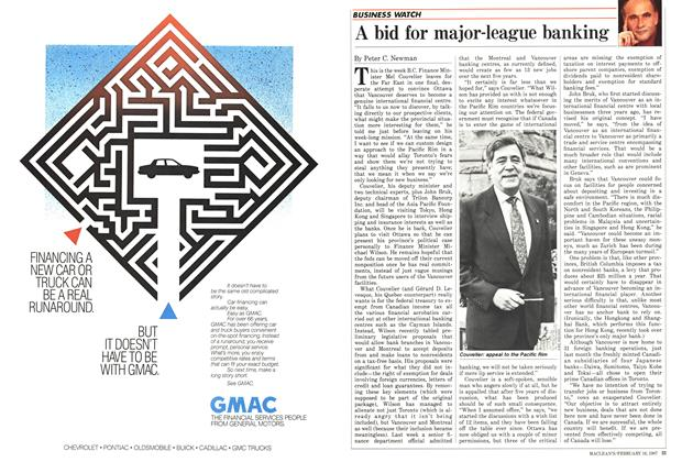 Article Preview: A bid for major-league banking, February 1987 | Maclean's