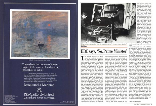 Article Preview: BBC says, 'No, Prime Minister', February 1987 | Maclean's
