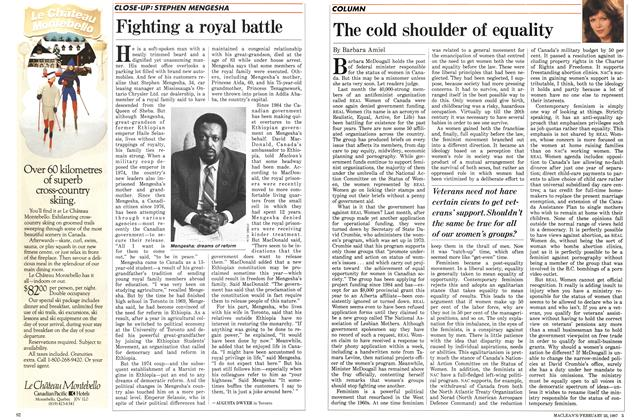 Article Preview: The cold shoulder of equality, February 1987 | Maclean's