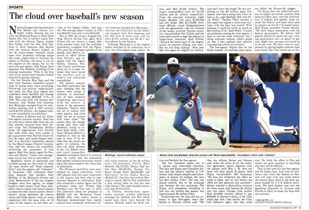 Article Preview: The cloud over baseball's new season, March 1987 | Maclean's