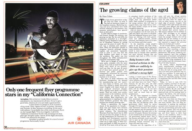 Article Preview: The growing claims of the aged, March 1987   Maclean's