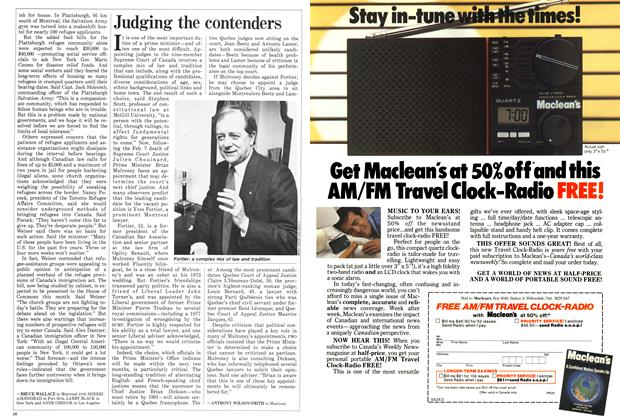 Article Preview: Judging the contenders, March 1987   Maclean's