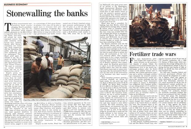 Article Preview: Stonewalling the banks, March 1987 | Maclean's
