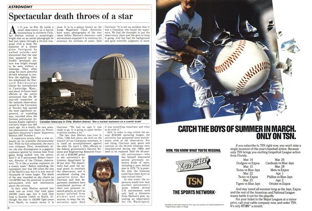 Article Preview: Spectacular death throes of a star, March 1987 | Maclean's