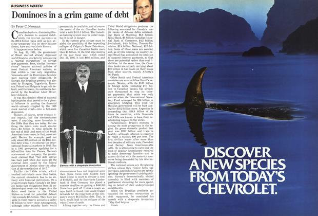 Article Preview: Dominoes in a grim game of debt, March 1987 | Maclean's