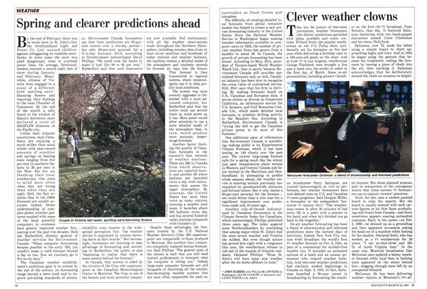 Article Preview: Clever weather clowns, March 1987 | Maclean's