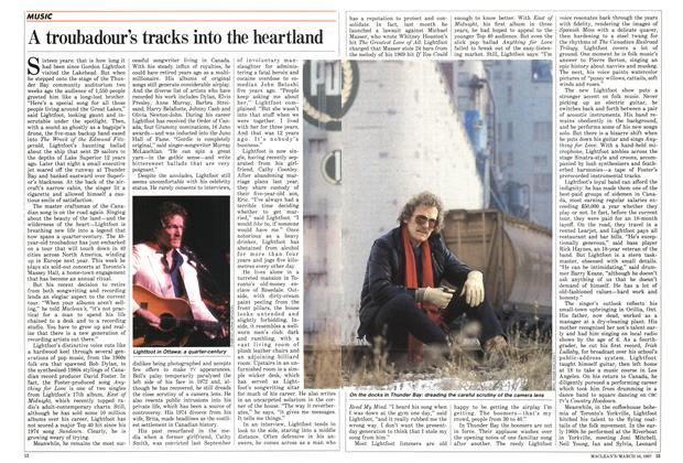 Article Preview: A troubadour's tracks into the heartland, March 1987 | Maclean's