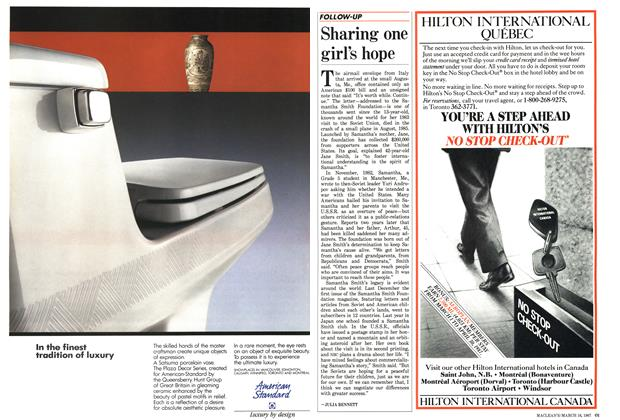 Article Preview: Sharing one girl's hope, March 1987   Maclean's