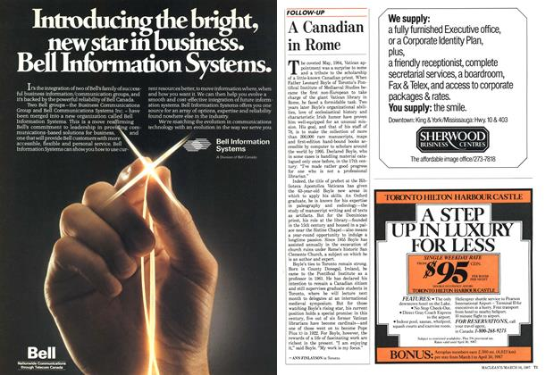 Article Preview: A Canadian in Rome, March 1987 | Maclean's