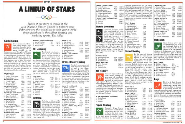 Article Preview: A LINEUP OF STARS, March 1987 | Maclean's