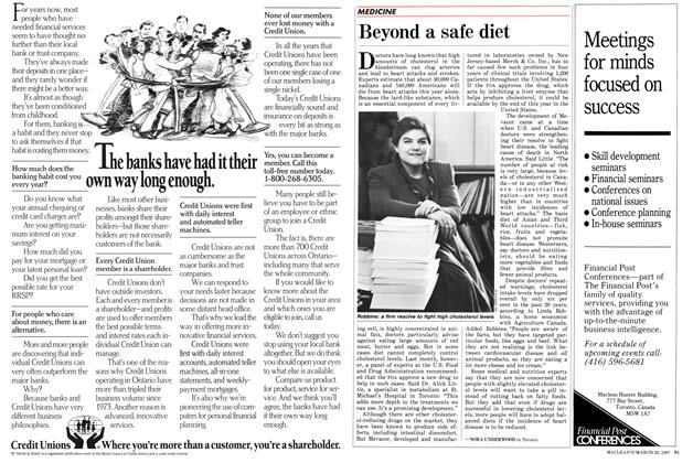 Article Preview: Beyond a safe diet, March 1987 | Maclean's