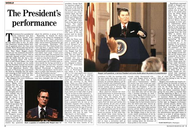 Article Preview: The President's performance, March 1987 | Maclean's