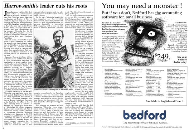 Article Preview: Harrowsmith's leader cuts his roots, March 1987 | Maclean's