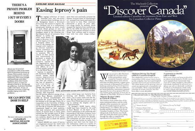 Article Preview: Easing leprosy's pain, March 1987 | Maclean's