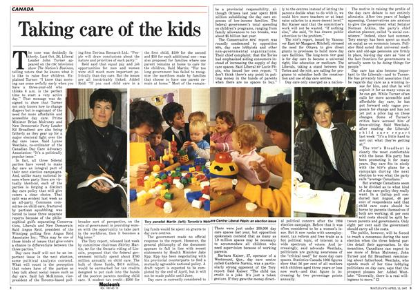 Article Preview: Taking care of the kids, April 1987 | Maclean's