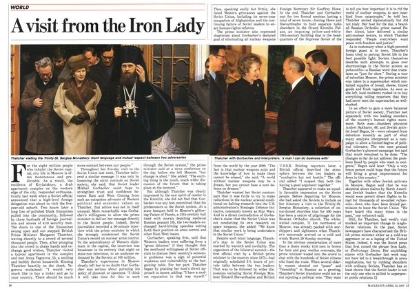Article Preview: A visit from the Iron Lady, April 1987 | Maclean's