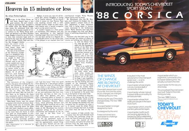 Article Preview: Heaven in 15 minutes or less, April 1987 | Maclean's