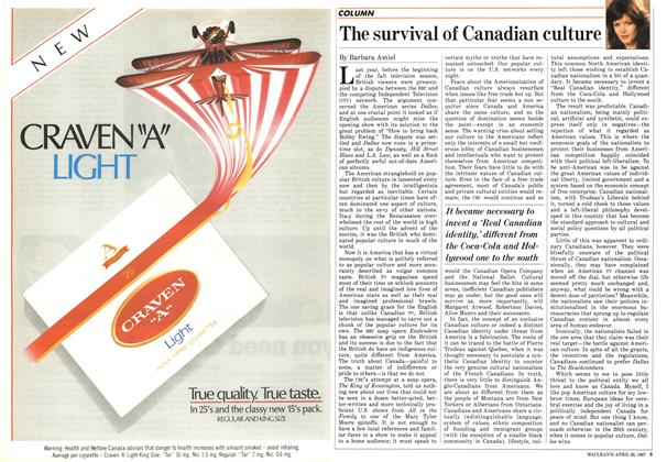 Article Preview: The survival of Canadian culture, April 1987 | Maclean's
